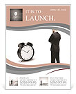 Thoughtful businessman and alarm clock Flyer Template