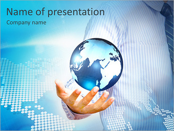 Holding a glowing earth globe in his hands PowerPoint Template