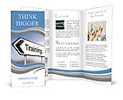 Illustration depicting a sign post with directional arrow containing a training concept. Blurred bac Brochure Templates