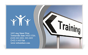 Illustration depicting a sign post with directional arrow containing a training concept. Blurred bac Business Card Template