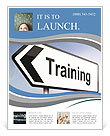 Illustration depicting a sign post with directional arrow containing a training concept. Blurred bac Flyer Template