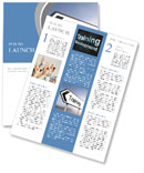 Illustration depicting a sign post with directional arrow containing a training concept. Blurred bac Newsletter Template