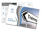 Illustration depicting a sign post with directional arrow containing a training concept. Blurred bac Postcard Templates