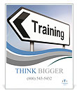 Illustration depicting a sign post with directional arrow containing a training concept. Blurred bac Poster Templates