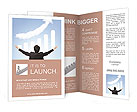 I want be rich - back view of Business man hug a growth graph ( made by cloud ) in the air with blue Brochure Templates