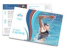 Swimmer breathing performing the crawl stroke Postcard Template