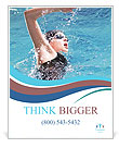 Swimmer breathing performing the crawl stroke Poster Templates