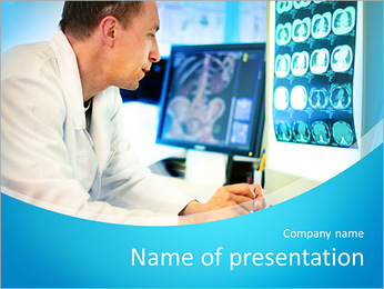Doctor looking at ct scan PowerPoint Template