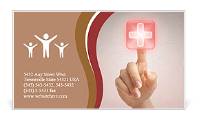 Hand pressing virtual button with first aid sign. Business Card Template