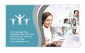 Portrait of businesswoman holding her tablet computer and communicating with her team across the wor Business Card Templates