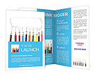 Happy group of pencil faces as social network with speech bubbles Brochure Templates