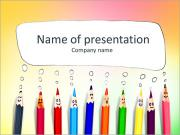 Happy group of pencil faces as social network with speech bubbles PowerPoint Templates