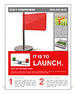 Red flag isolated on white background. high resolution 3d illustration Flyer Template