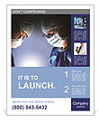 Doctors team in surgery in a dark background Poster Template