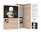 Young woman's head wrapped in paper. Symbol of loneliness and alienation. Brochure Template