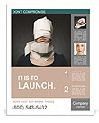 Young woman's head wrapped in paper. Symbol of loneliness and alienation. Poster Template
