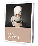 Young woman's head wrapped in paper. Symbol of loneliness and alienation. Presentation Folder