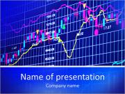 Blue background with stock chart 3D PowerPoint Templates