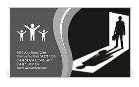 Silhouette of coming businessman in doorway with shadow Business Card Template