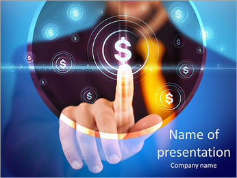 Businessman pressing business type of modern buttons with virtual background PowerPoint Template