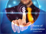 Businessman pressing business type of modern buttons with virtual background PowerPoint Templates