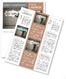 Businessman making a puzzle on the wall with the word Business Newsletter Template