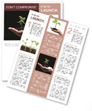 Young plant in woman hand on black background - lit from above, isolated Newsletter Template