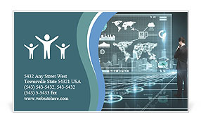 Businessman looking world map on interface screen Business Card Templates