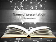 Open book with letters on concrete background PowerPoint Template