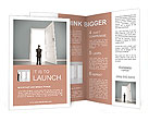 Businessman in blue room with doors open Brochure Templates