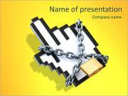 Ограничение Интернет - 3D концепции с курсором и цепи Шаблоны презентаций PowerPoint