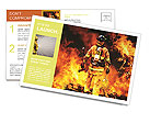 In to the fire, a Firefighter searches for possible survivors Postcard Template