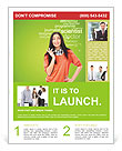 Young female student standing and thinking what profession to choose and start education Flyer Templates