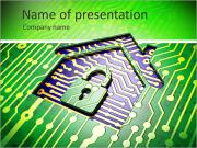 Security concept: circuit board with home icon, 3d render PowerPoint Templates