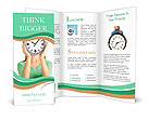 Girl holding clock over face isolated on white Brochure Templates