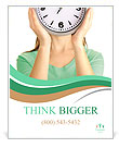 Girl holding clock over face isolated on white Poster Template