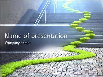Urban ecology concept - grass strop over stairs PowerPoint Template