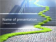 Urban ecology concept - grass strop over stairs PowerPoint Templates