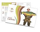 The fisherman with big fish (Brown Trout - Salmo Trutta). Success concept. Postcard Templates