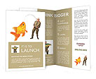 The fisherman with big fish - The Goldfish (Carassius auratus). Success concept. Brochure Templates