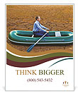 Guy will rows home for shore in paddle powered row boat businessman in boat rocks looks bright futur Poster Template