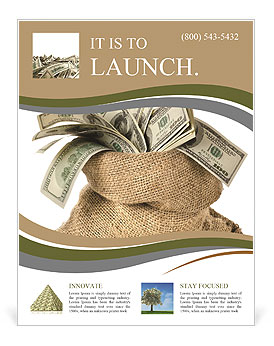 Money In The Bag Isolated On A White Background Flyer Template - Money flyer template