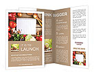 Fresh Organic Vegetables and Spices on a Wooden Background and Paper for Notes. Open Notebook and Fr Brochure Template