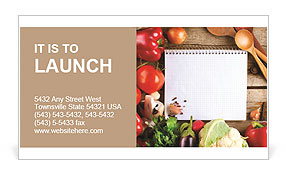 Fresh Organic Vegetables and Spices on a Wooden Background and Paper for Notes. Open Notebook and Fr Business Card Template