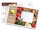 Fresh Organic Vegetables and Spices on a Wooden Background and Paper for Notes. Open Notebook and Fr Postcard Templates