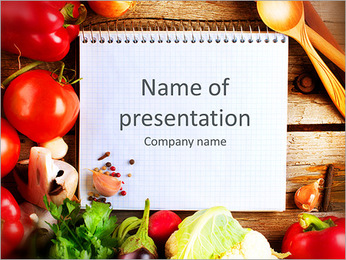Fresh Organic Vegetables and Spices on a Wooden Background and Paper for Notes. Open Notebook and Fr PowerPoint Template