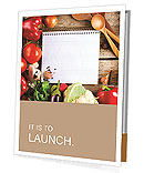 Fresh Organic Vegetables and Spices on a Wooden Background and Paper for Notes. Open Notebook and Fr Presentation Folder