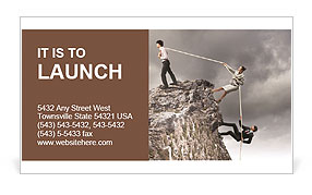 Image of three businesspeople pulling rope atop of mountain Business Card Template