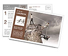 Image of three businesspeople pulling rope atop of mountain Postcard Template