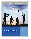 Happy children playing hand ball at sunset time Word Templates